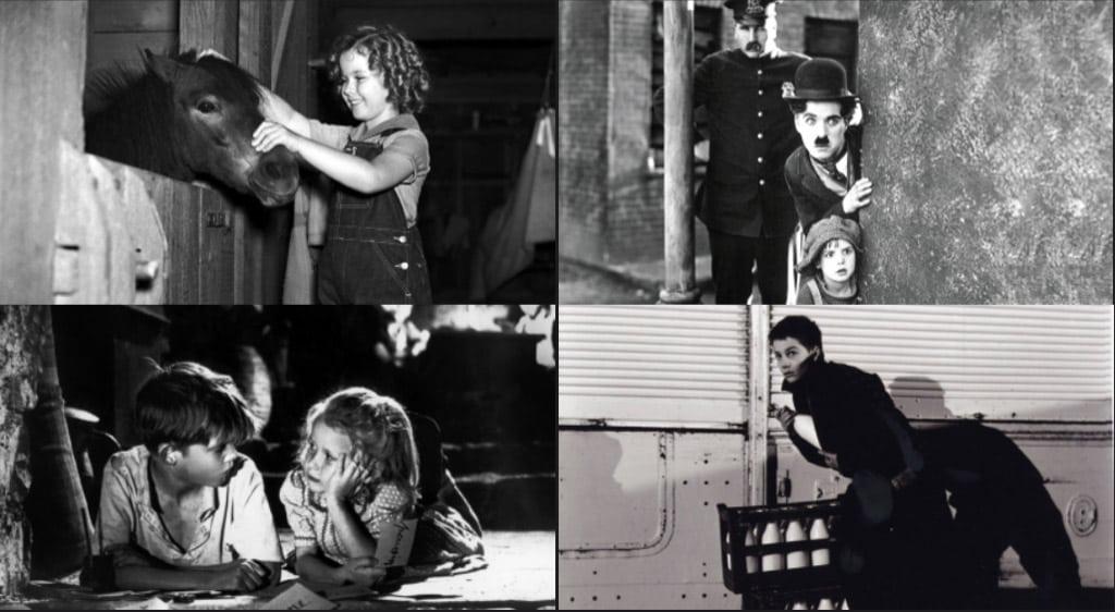 Lilla hjärtetjuven (Irving Cummings, 1935), Chaplins pojke (Charlie Chaplin, 1921), Förbjuden lek (René Clément, 1952) och De 400 slagen (Truffaut, 1959)