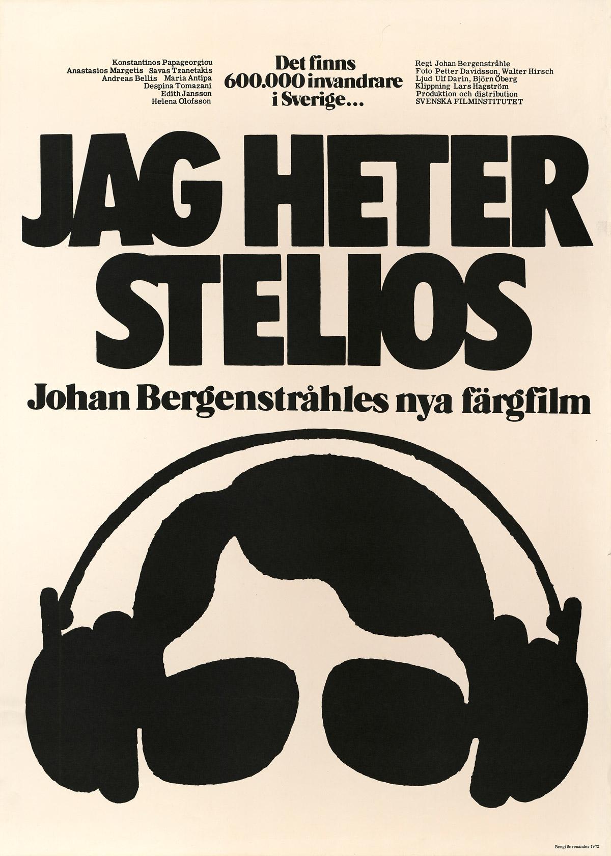 Filmaffisch av Bengt Serenander till Jag heter Stelios (Bergenstråhle, 1972)